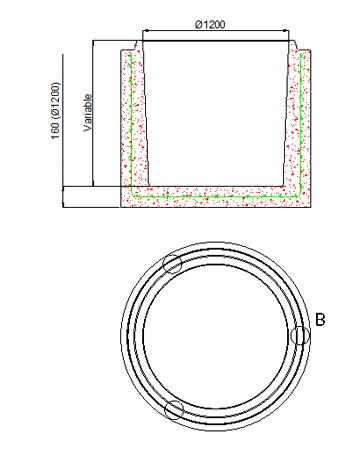 Circular bases Ø1,000 and Ø1,200